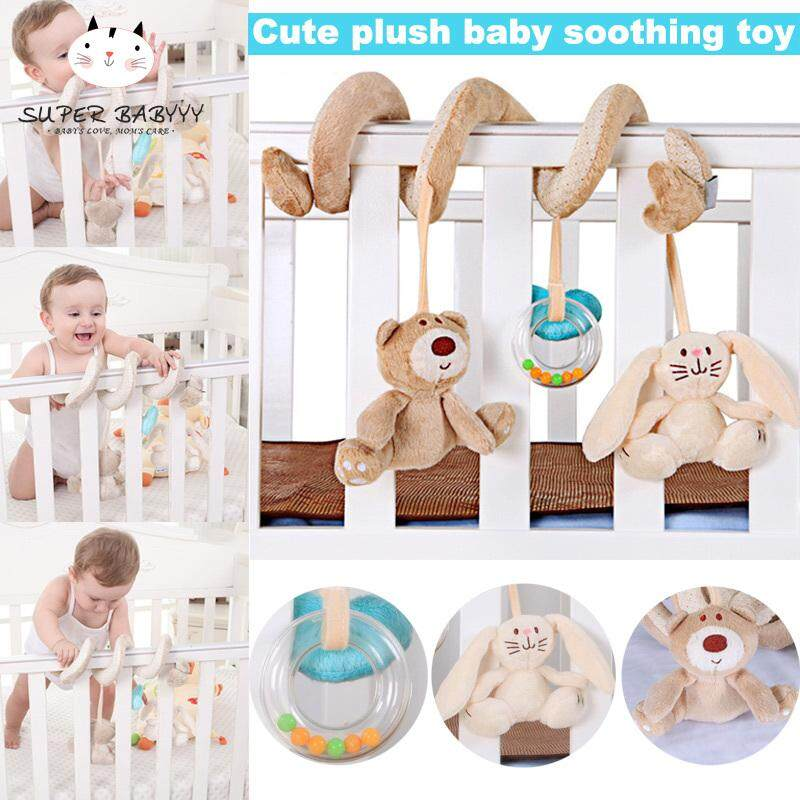 SBY 1pc Baby Plush Toys Ainimal Rabbit Bear Bed Winding Hanging Toys for Cribs Stroller