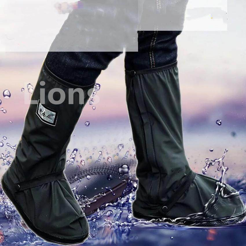 Lions ถุงคลุมรองเท้ากันฝน ถุงคลุมรองเท้ากันน้ำ Long Black Anti-slip Waterproof Rain Boot Shoes Cover Overshoes with Elastic String for Women Men Waterproof Boot