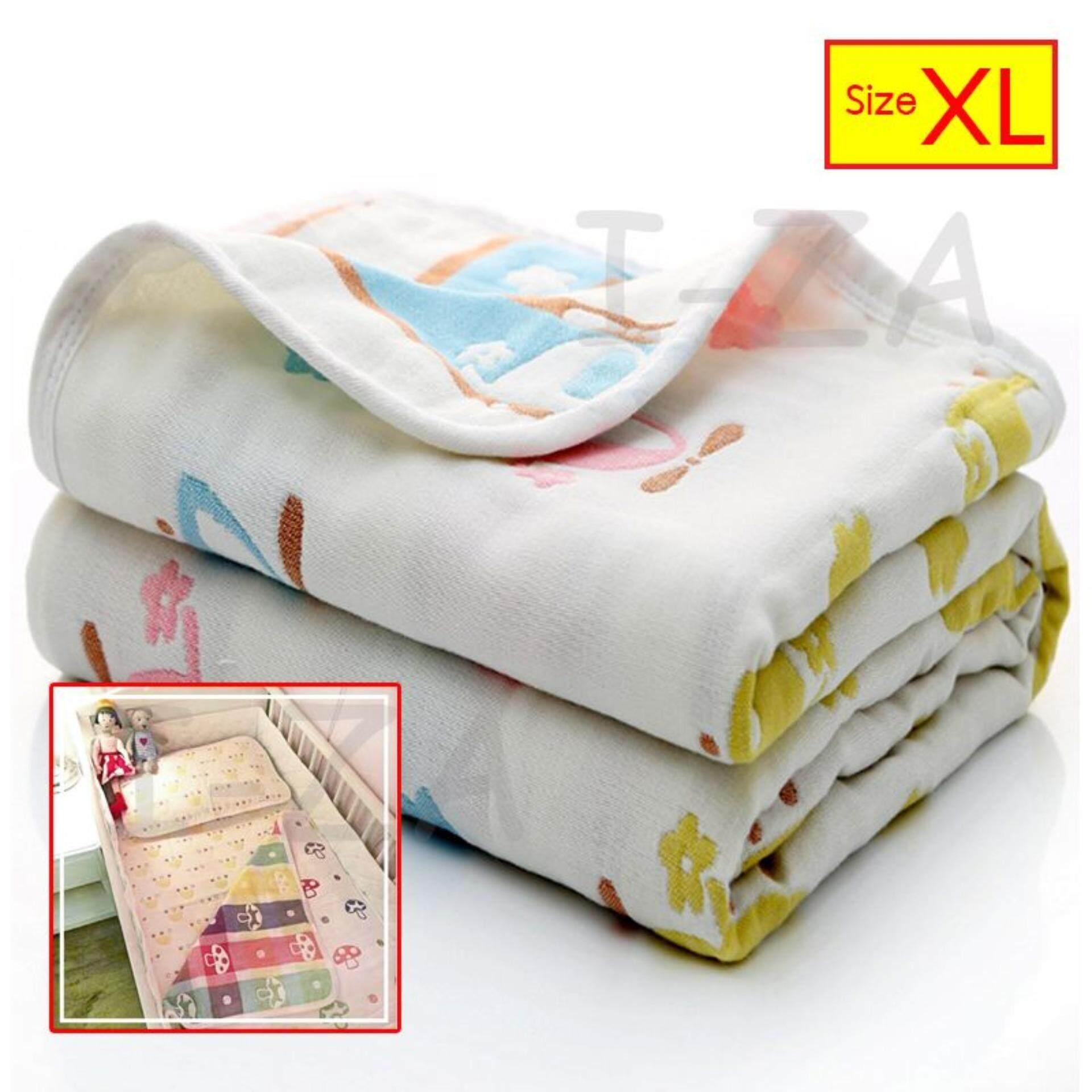 I-Za ผ้าห่มเด็กแรกเกิด ผ้าห่มเด็กออแกนิค ผ้าฝ้ายญี่ปุ่นทอ 6 ชั้น ลาย 2 ด้าน ขนาด110x110 Cm By Izashop.