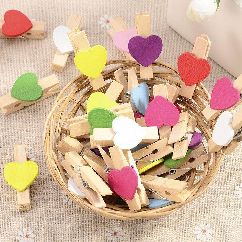 100 Mini Wooden Love Heart Pegs Photo Paper Clip Wedding Decor Craft (Mixed)