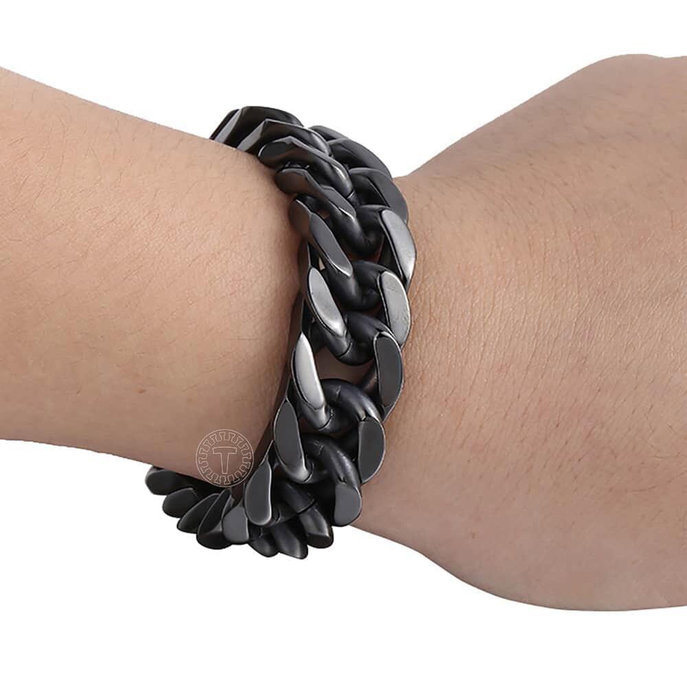Thép không gỉ dubai vàng liên kết chuỗi vòng đeo tay cho nam giới da đầy  màu sắc charm lưới chuỗi dây đeo cổ tay nam vòng đeo tay trang sức -