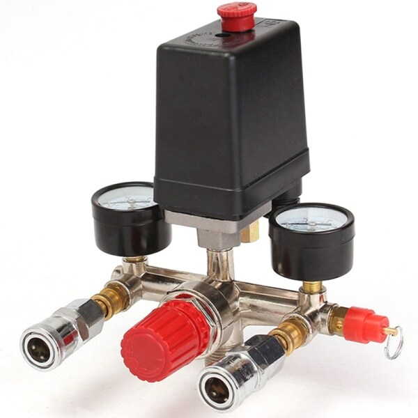 Air Compressor Pressure Valve Switch Manifold Relief Regulator Gauges 90~120 Psi 240V 17X15.5X19Cm