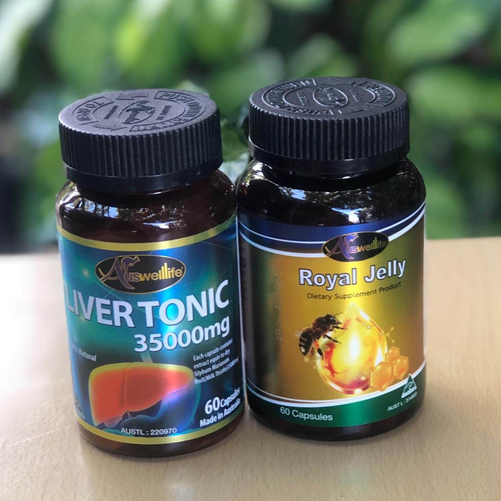 Auswelllife Royal Jelly นมผึ้งเกรดพรีเมี่ยม 100% 2180mg บำรุงประสาทและสมอง ต้านความเครียด นอนไม่หลับ 1 กระปุก (60 แคปซูล) + Auswelllife Liver Tonic 35000mg. วิตามินบำรุงตับ ล้างสารพิษ ดีท็อกตับให้แข็งแรง จำนวน 60 แคปซูล.