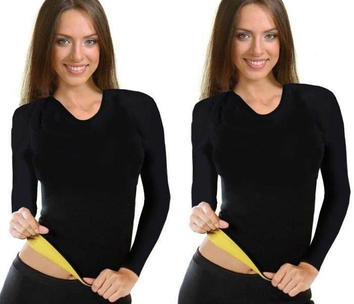 (2ตัว สุดคุ้ม) Purify เสื้อออกกำลังกาย เสื้อเรียกเหงื่อแขนยาว Neo Shapers Hot สีดำ