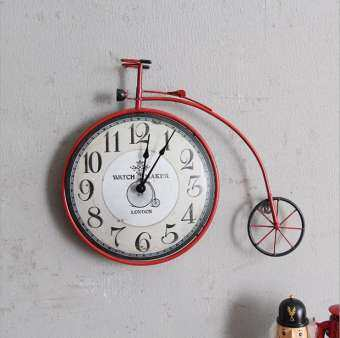 American Style Retro Bicycle Wall Clock Creative Personality Bike Design Hanging Watch Vintage Cycle Ornaments Home Decor Bar Decoration-