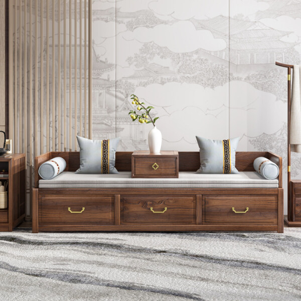 New Chinese Style Scaling Arhat Bed Solid Wood Chinese Style Mortise and Tenon Joint Old Elm Furniture Multi-functional S.RENCHUANG Slidable Rohan Couch