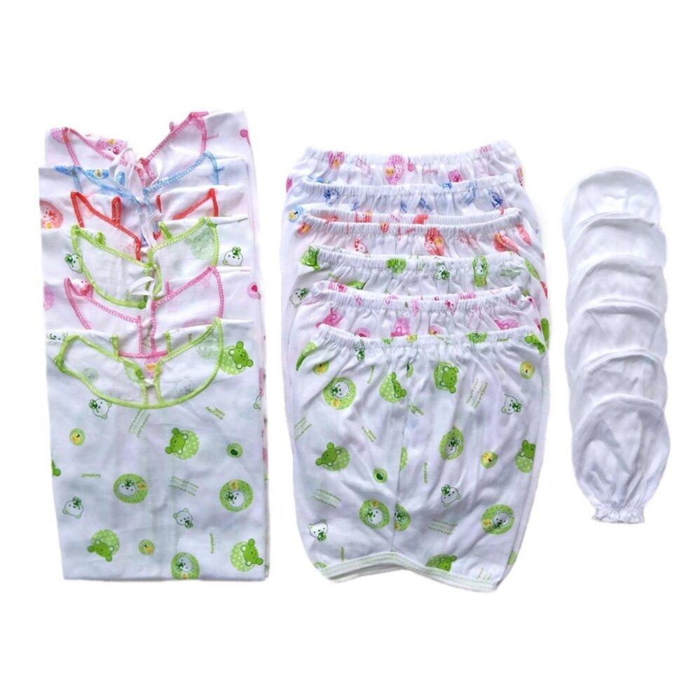 โปรโมชั่น ชุดของขวัญ ชุดเด็กแรกเกิด เสื้อผ้าเด็กอ่อน ถุงมือเด็กอ่อน เด็กแรกเกิด 0-6 เดือน แพ็ค 6 (ชุดเด็ก 6 ชุด,ถุงมือ 6 คู่)