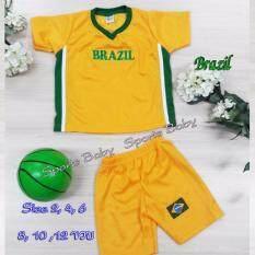 ขาย ชุดกีฬาเด็ก เสื้อ กางเกง 1 ชุด ปักลาย ทีม Brazil อายุ 10 ขวบ Midori เป็นต้นฉบับ