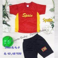 ราคา ชุดกีฬาเด็ก เสื้อ กางเกง 1 ชุด ปักลาย ทีม Spain อายุ 12 ขวบ Midori ใหม่