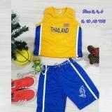 ขาย ชุดกีฬาเด็ก เสื้อกล้าม กางเกง 1 ชุด ปักลาย ทีม Thailand สีเหลือง ราคาถูกที่สุด
