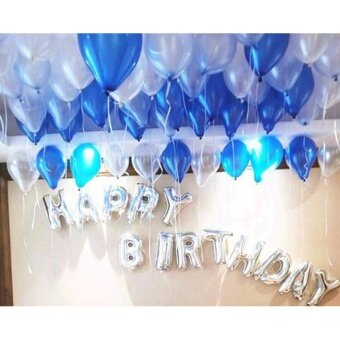 ลูกโป่ง 100 ลูก พร้อมฟอยล์ตัวอักษรสีเงิน HAPPY BIRTHDAY 13ชิ้นและอุปกรณ์สูบ+กาวแปะ+ริ้บบิ้น(สีฟ้า)