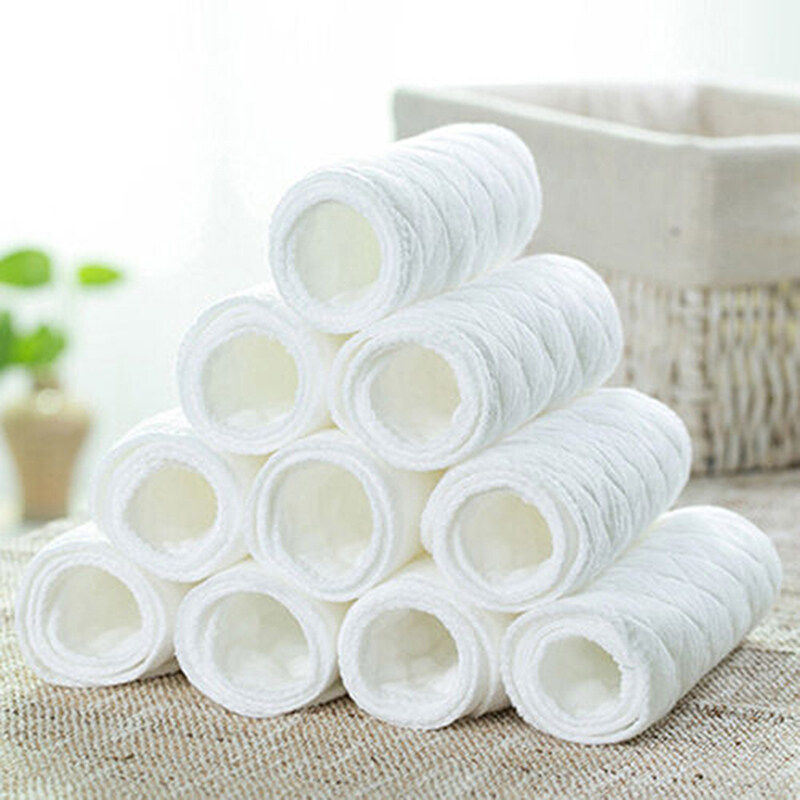 10Pcs Novel Baby Cotton Cloth Diaperborn Nappy Liners Insert 3 Layers - intl
