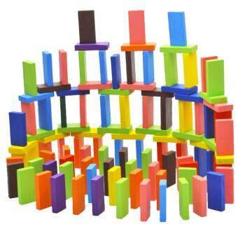 120 PCS Children Babies Kids Colorful Domino Building Blocks Pine Wooden Toys Early Intelligence Educational Blocks-