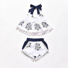 ราคา 2 ชิ้น เซ็ตชุดเด็กแรกเกิดชุดเด็กทารกชุดเสื้อผ้าชุดถังเสื้อยืดแขนสั้นกางเกงขาสั้นเสื้อผ้าเด็กน่ารัก นานาชาติ ถูก