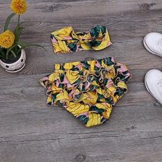 2 Pieces Baby S European And American Cute Creative Flower Shorts Yellow Intl เป็นต้นฉบับ