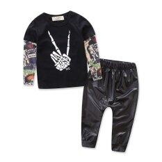 ราคา 2017 Spring Black Suit Baby Clothing Set Long Sleeve Top Long Pants 2Pcs Scissorhands Pattern Design Leather Pants Boys Clothes Intl จีน