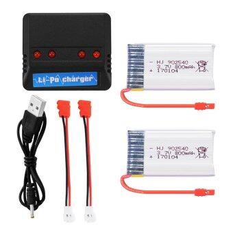 2pcs 800mAh 3.7V Lipo Battery+4in1 USB Charger w/ Cable for Syma X5HW X5HC