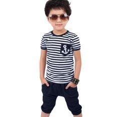ราคา 2Pcs Boys Casual Clothing Set Stripe Boat Anchor Pattern 120 Purplish Blue Intl Blue เป็นต้นฉบับ