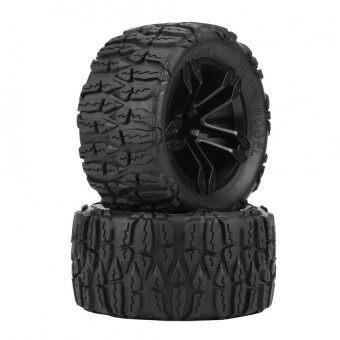 2pcs/set Rubber Tyre Tires Plastic Hubs Wheel for 1/10 RC Car Racing Car Truck - intl