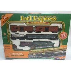 ชุดรถไฟ รถไฟโบราณ มีเสียง มีไฟ ขบวนเปลี่ยนได้ 3 ขบวน รางยาว 4 เมตร.