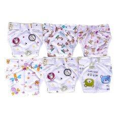 ส่วนลด Babyshineกางเกงผ้าอ้อม ซักได้ สำหรับเด็กแรกเกิด 12เดือน แพ็ค 6 ตัวคละลาย Babyshine