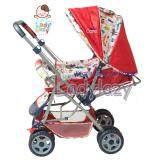 Ladylazyรถเข็นเด็ก เข็นได้หน้า หลัง ปรับได้ 3 ระดับ สีแดง ขาว แถมฟรี กระเป๋าอเนกประสงค์ ถูก
