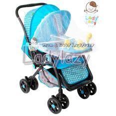 ซื้อ Ladylazyรถเข็นเด็กอุลตร้า มีเสียงดนตรี เข็นหน้า หลัง ปรับได้ 3 ระดับ สีฟ้า ใหม่
