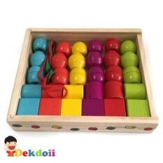 ราคา ของเล่นไม้ ชุดร้อยเชือกสีและรูปทรง 30 ชิ้นกล่องไม้ เป็นต้นฉบับ