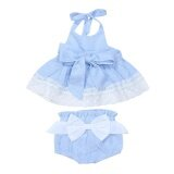 3Pcs Newborn Baby G*Rl Striped Halter Lace Dress Briefs Belt Blue 70Cm Intl ถูก