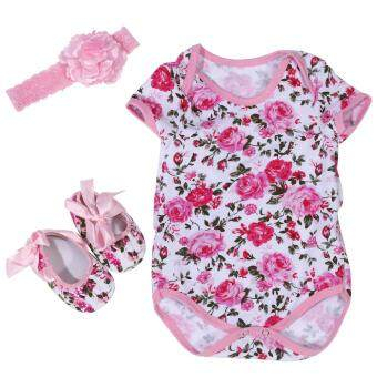 3Pcs/Set Cotton Short Sleeve Romper Baby Jumpsuit with Head Band and Shoes (Rose Pattern) L - intl