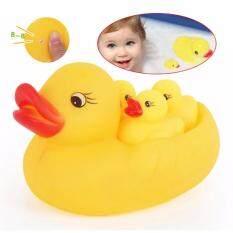 4ชิ้น/เซ็ต ของเล่นอาบน้ำเด็ก เป็ดสีเหลืองขนาดเล็กทำให้เกิดเสียงฉกเด็กเล่นน้ำของเล่นเป็ดว่ายน้ำชายหาดกลางแจ้งของเล่น.
