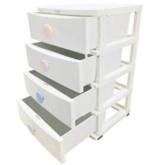 ตู้ลิ้นชักพลาสติก ตู้เก็บของ 4 ชั้น มีล้อ ขนาด 45x56x85 CM สีขาว