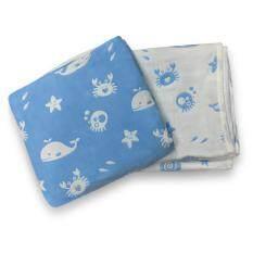 ผ้าห่มเด็ก เนื้อผ้าฝ้ายญี่ปุ่นหนา 6 ชั้น ลายทะเลสีฟ้า ขนาด 98x95 ซม. จำนวน1 ผืน.