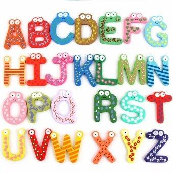 ตัวอักษร A-Z ไม้สีสดใส มีแม่เหล็กติดตู้เย็น