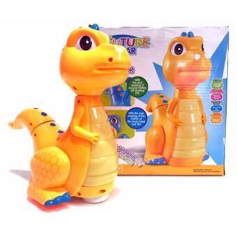 ไดโนเสาร์ วิ่งชนแล้วถอย ขยับหัว และหาง (มีเสียง+มีไฟ)