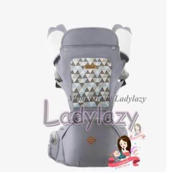 ladylazyเป้อุ้มเด็ก(aiebao) Hip seat 2 in1 มีหมวกคลุมและปลอกกันน้ำลาย พาสเทล(Pastel) สีเทา
