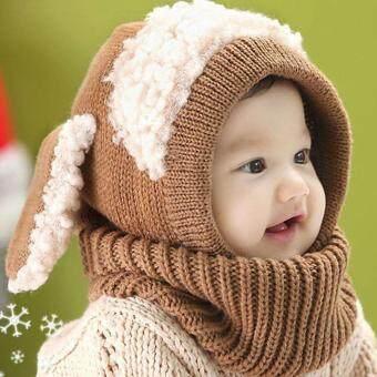Allwin เด็กหนุ่มเด็กสาวในฤดูหนาวอบอุ่นถักหมวกไหมพรมหมวกฮู้ดสุนัขหมวกผ้าพันคอกาแฟ