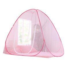 Amazon มุ้งกันยุง มุ้งสปริง ขนาด 7 ฟุต สีชมพูอ่อน ขนาด 200x200x150 Cm. นอนได้ 3-4 คน By Allnight4you.