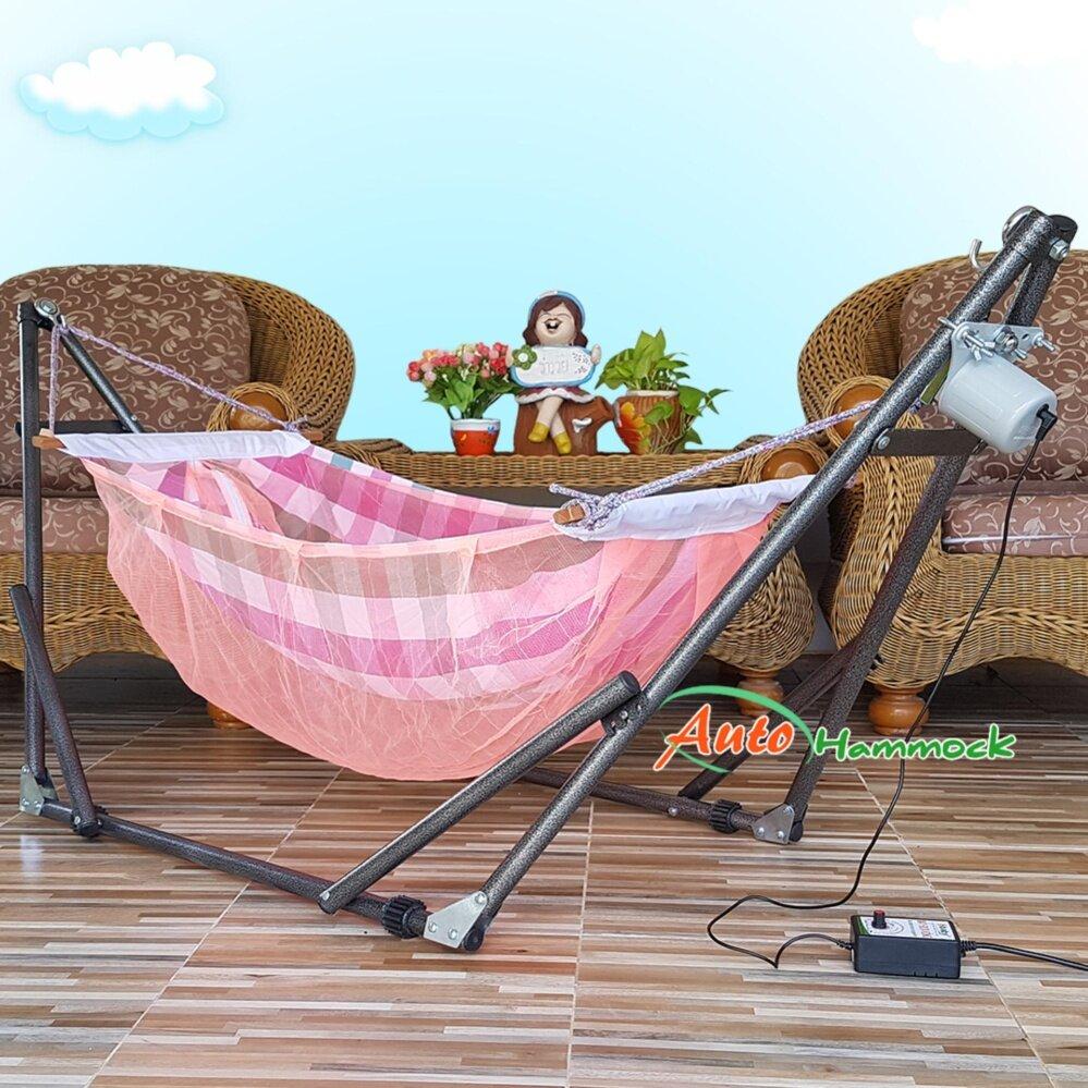 ราคา Auto Hammock เปลนอนเด็กไกวอัตโนมัติแบบพับได้ขนาดกลาง(M)สไตล์ผ้าเปลมีมุ้งลายผ้าขาวม้าโทนสีส้ม