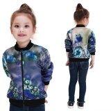โปรโมชั่น Autumn Winter Children Coat Girls Flower Printed Short Zipper Bomber Jacket Color As The Picture Intl Thailand