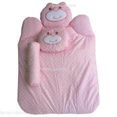 Babi Care ที่นอนใยสังเคราะห์หมี พร้อมหมอน+หมอนข้าง (สีชมพู) 1 ชุด.