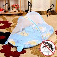 Baby Bed ที่นอนเด็กอ่อนแบบพกพา แบบมีเสียงดนตรี พร้อมมุ้งกันยุง, เบาะและหมอนหนุน (สีฟ้า)  .