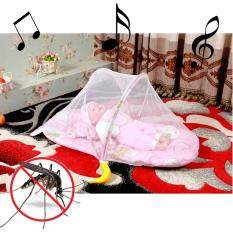 Baby Bed ที่นอนเด็กอ่อนแบบพกพา แบบมีเสียงดนตรี พร้อมมุ้งกันยุง, เบาะและหมอนหนุน (สีชมพู)  .