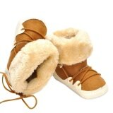 ราคา ราคาถูกที่สุด Baby Boy Winter Warm Snow Boots Lace Up Soft Sole Shoes Infant Toddler Kid Intl