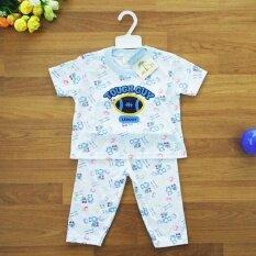 Baby Elegance ไซส์ 18M 18 เดือน เซ็ต 2 ชิ้น เด็กชาย ชุดนอน เสื้อแขนสั้น กางเกงขายาว ลูกรักบี้ หมีลากรถเข็น ผ้า Cotton Interlock 2 หน้า นุ่ม สบาย เป็นต้นฉบับ