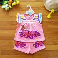 ซื้อ Baby Elegance ไซส์ 3 2 3 ปี เสื้อผ้า เด็กผู้หญิง เซ็ต 2 ชิ้น เสื้อแขนปีก Happy กางเกงขาสั้นเอวยางยืด กรุงเทพมหานคร