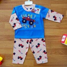 Baby Elegance ไซส์ 4 18 24 เดือน ชุดนอน เด็กผู้ชาย เซ็ต 2 ชิ้น เสื้อแขนยาวลายรถกระบะล้อโต กางเกงขายาว ใหม่ล่าสุด