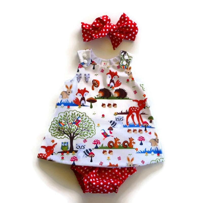 Baby Girl Animal Pattern Dotted Shorts Dress Headband Clothes Set 70cm - intl