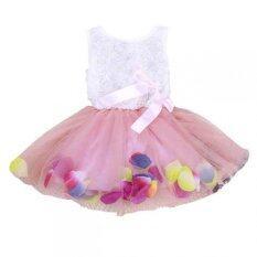 ซื้อ Baby Girls Princess 3D Rose Tutu Lace Dress With Colorful Petal Pink Intl ถูก ใน จีน
