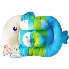 Baby Heart ที่นอนเด็กอ่อนลายปลา (สีฟ้า).